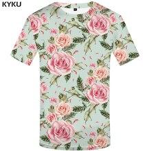 KYKU Brand flower T shirt Pink T-shirts Sexy Tshirt rock t men 3d t-shirt styles mens male floral hip hop