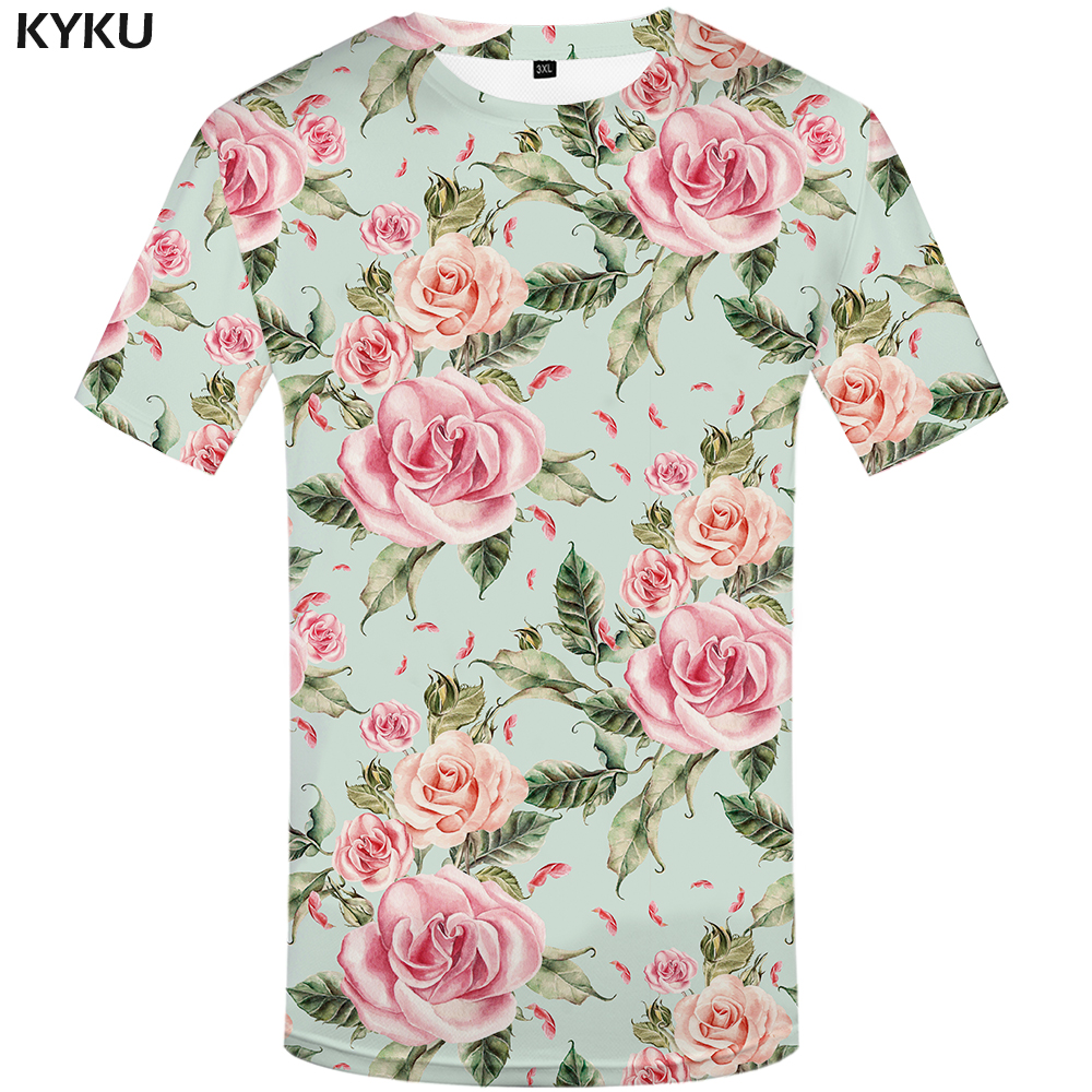 KYKU Brand flower   T     shirt   Pink   T  -  shirts   Sexy Tshirt rock   t     shirt   men 3d   t  -  shirt   flower styles mens male   shirt   floral hip hop