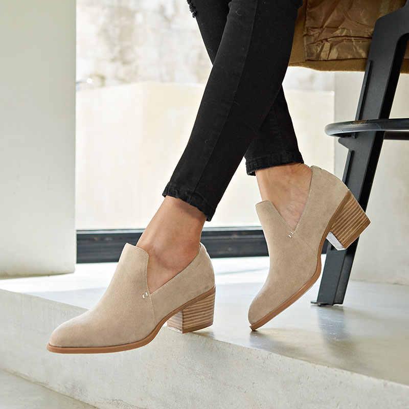 BeauToday Kadın Pompaları Hakiki Deri Inek Süet Kayma Yeni Moda Bayan Üst Marka Yüksek Topuk Ayakkabı El Yapımı 15712