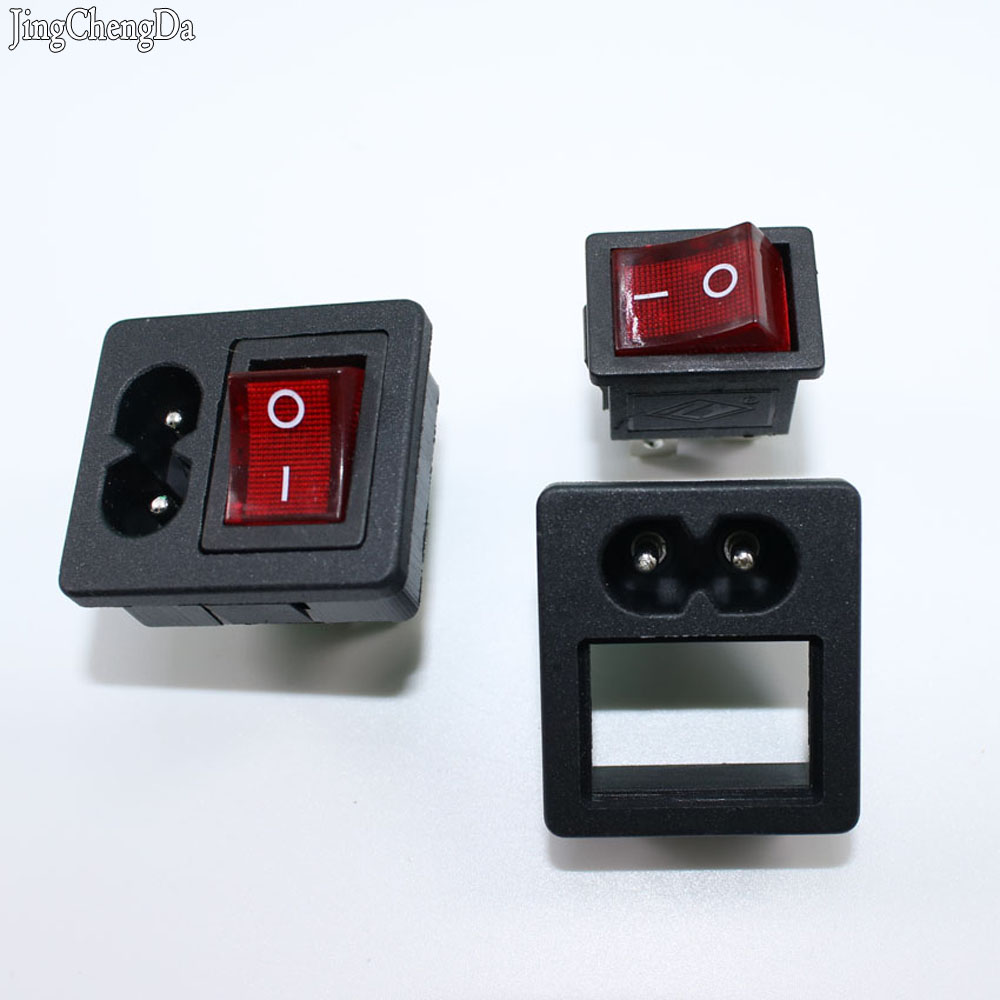 1PC IEC320 C8 Power Cord Inlet Socket receptacle With ON-OFF Red Light Rocker Switch 250V 2.5A FOR Computer Amplifier
