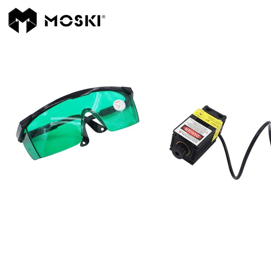 MOSKI, 2.5 W Bleu Lumière Laser Module diode pour Laser CNC machine à graver Haute-puissance 450nm Focalisables alimentation, 2500 mw
