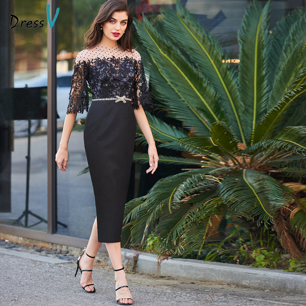 Dressv black   cocktail     dress   elegant scoop neck button sheath half sleeves beading wedding party formal   dress     cocktail     dresses
