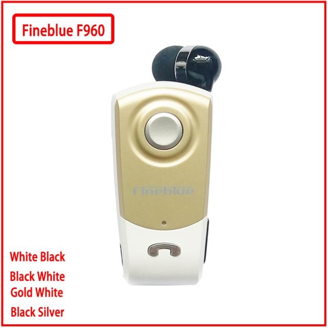 Fineblue F960 بلوتوث صغير سماعة لاسلكية في الأذن يدوي مع سماعة رأس مع ميكروفون المكالمات تذكير الاهتزاز ارتداء كليب سائق