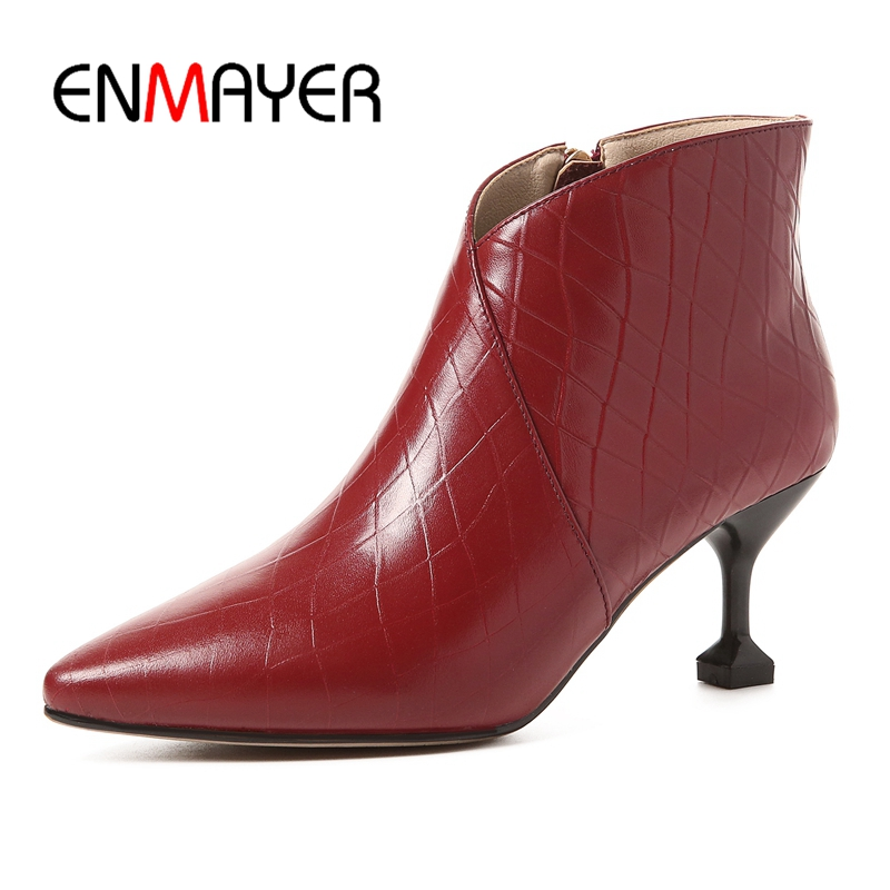 ENMAYER  Genuine Leather  Booties  Thin Heels  Pointed Toe  Womens Boots  Zapatos De Mujer  Snow Boots Size 34-39 ZYL1664ENMAYER  Genuine Leather  Booties  Thin Heels  Pointed Toe  Womens Boots  Zapatos De Mujer  Snow Boots Size 34-39 ZYL1664