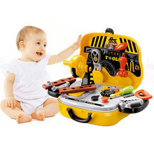 hot deal buy tool toys pretend construction pretend play kids suitcase garden carpentry tool box hobbies set baby boy plastic chainsaw hammer