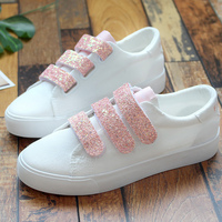 Sneakers Women Shoes Bling Hook Loop 2018 Top Brand Spring Autumn Ladies Shoes White Hot Solid