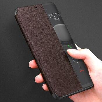 Smart View Flip P40pro Case For Huawei P40 P30 P20 Mate 10 20 Pro Lite Plus Original Luxury Genuine Leather Official Phone Cover