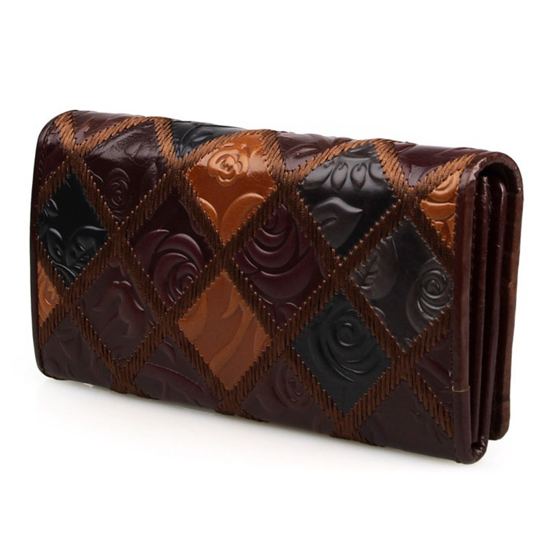 High-grade Retro Genuine Leather Wallet Brand Natural Cowhide Weaving Clutch Wallets 3 Design Brown Long Purse Card Holder Bags casual weaving design card holder handbag hasp wallet for women