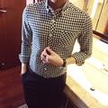 Na primavera da nova Europa camisa Metrosexual treliça tipo fino masculino Coreano magro moda Camisa Xadrez