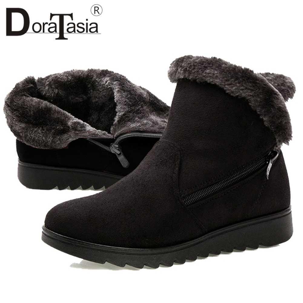 DORATASIA Dropship kış süper sıcak platform patik kadınlar casual düşük takozlar yarım çizmeler Eklemek Kürk Ayakkabı Kadın