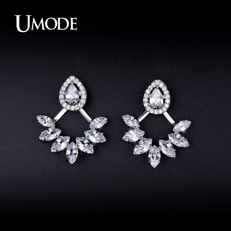 UMODE Simulated Diamond Ear Jacket Earrings For Women Fashion Jewelry 2016 New CZ Boucle D'Oreille Femme Christmas Gifts AUE0248