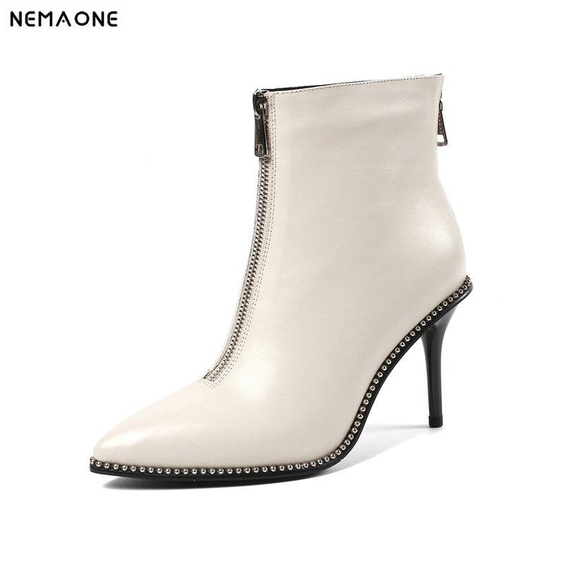 Femme 42 Bottes Mariage Nemaone Chaussures Dames 9 De Nouvelles Femmes 43 Cm Beige Talons Véritable Haute 41 Partie Taille Robe noir Cheville Cuir 7X7qwH