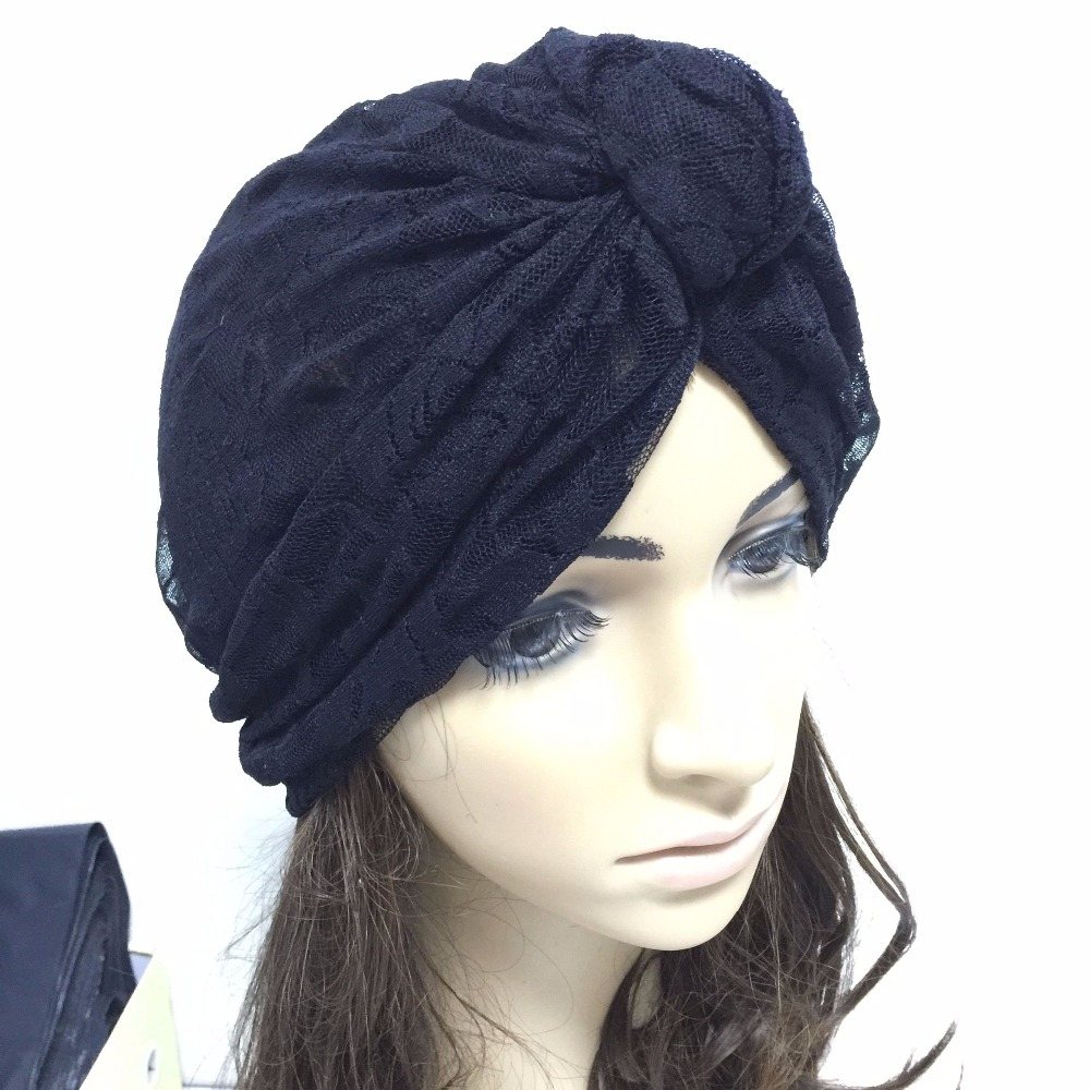 Hand Made Women Lace Bow Turban Elastic Knot Ttie India Beret Hat Woman Deep Cap Bandanas Skullies Beanies Black White In Stock