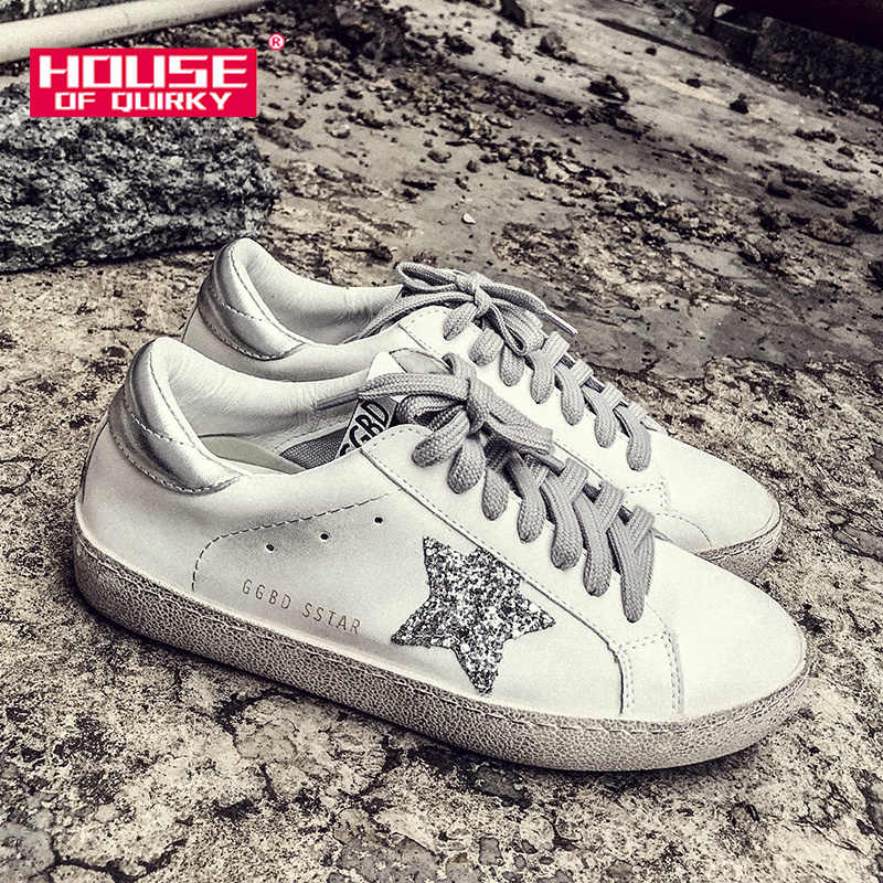 Sneakers Women Leather Do Old Dirty Flats Shoes Star Sequins Lace-Up Women  Casual Trainers 0239436e46a8