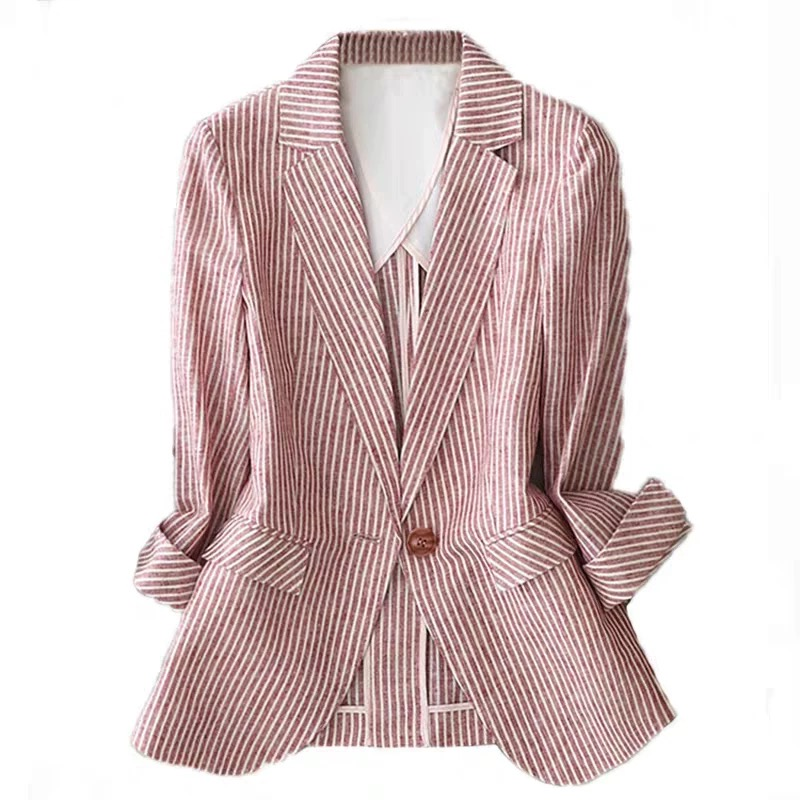 Linen Suit Female Thin 2020 Summer New Striped Long Sleeveone Button Slim Cotton Casual  Jacket