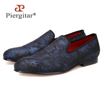 Piergitar Special Crocodile Print Suede Leather Plus Size Men Handmade shoes Smoking Slippers men loafers Men Flats Size US 4-17
