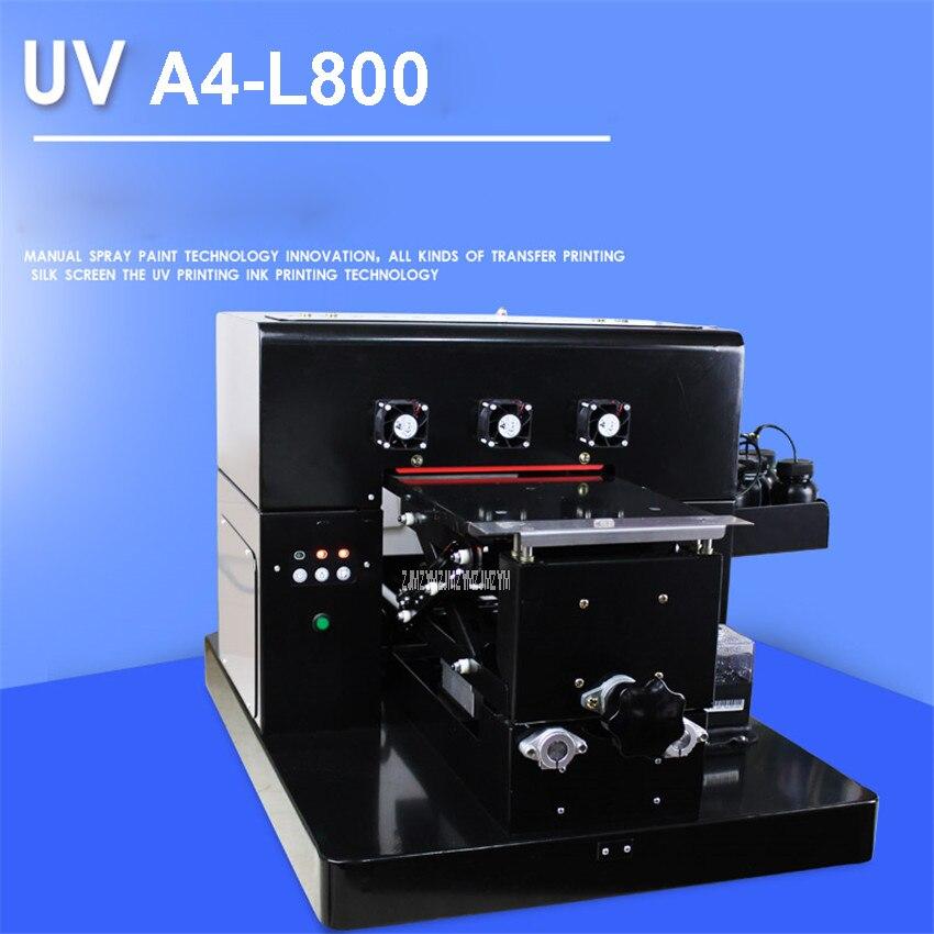 110 V/220 V UV-A4-L800 A4 petite taille imprimante UV pour coque de téléphone en cuir plaque PVC/plaque acrylique/bois/plaque de métal 210*297mm