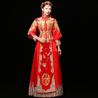 Floor Length Vintage Royal Women Phoenix Cheongsam Suzhou Embroidery Wedding Qipao RED Chinese Bride Dress Marriage Suit S XXL