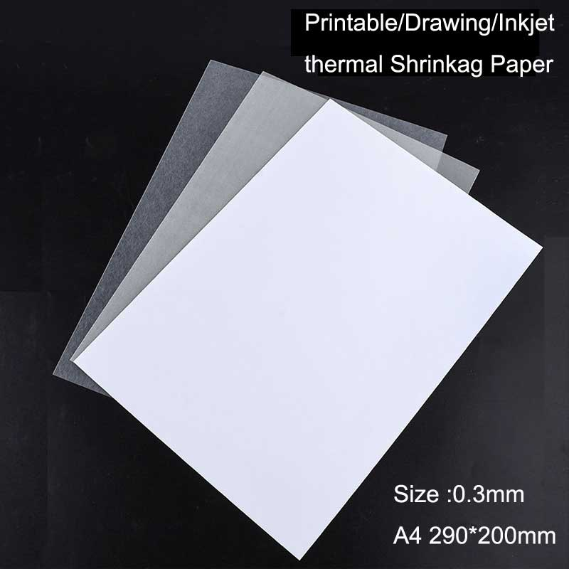 6 Pcs/lot 0.3mm Printer Inkjet Shrinks Film Dink Plastic Sheet DIY Creative Decorating Printable Films A4 DIY Manual Materials