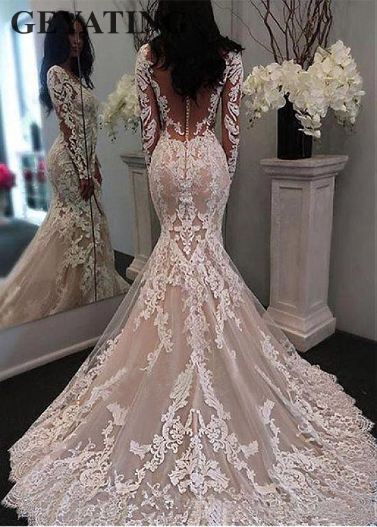 White Ivory Lace Mermaid Wedding Dresses Bridal Gowns V Neck Long Sleeves Train