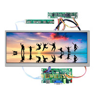 Car Bus Advertising LCD Monitor 12.3 inch IPS Display Stretched Bar LCD Ultra Wide Screen 1920*720 HDMI VGA LVDS Driver board