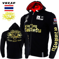 VSZAP Mens Jacket MMA Hoodie Fitness Men Sweatshirt mma Tiger Muay Thai Lotus Print Fighting Sweater Hoodies Hooded Sweatshirt