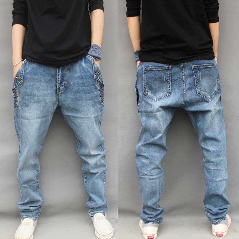 69e7c431000 Yehan Men s Baggy Harem Jeans Plus Size Stretch Jeans Men with Buttons Loose  Hip Hop Jeans