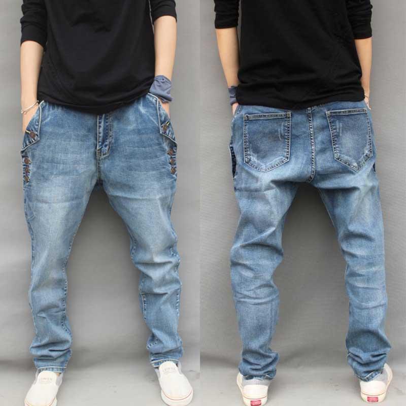 Yehan Heren Baggy Harem Jeans Plus Size Stretch Jeans Heren met Knopen Losse Hiphop-jeans Vaqueros Hombre Denim M-6XL