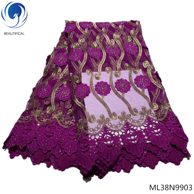 Beautifical french fabrics with rhinestones 2019 tulle lace fabrics with guipure laces dress for women 5yards/lot ML38N99Beautifical french fabrics with rhinestones 2019 tulle lace fabrics with guipure laces dress for women 5yards/lot ML38N99