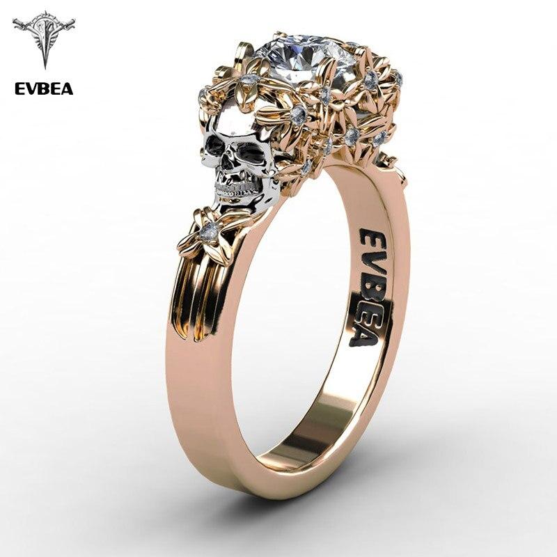 EVBEA Elegant Gold Skull Zircon Ring Women Halloween
