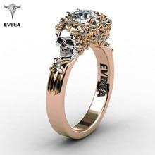 EVBEA Elegant Gold Skull Zircon font b Ring b font font b Women b font Halloween