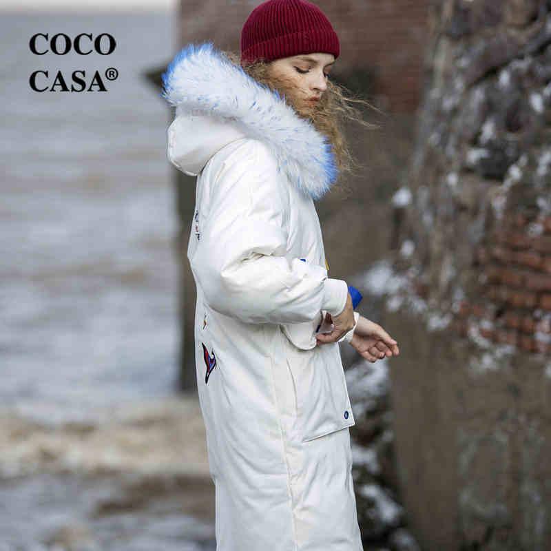 Capuchon 90 Chaud De blanc Manteaux Conception Vestes Canard Originale Noir Ovesized À Femmes Duvet Épais Hiver rouge Broderie Blanc Uq4zYWwfY
