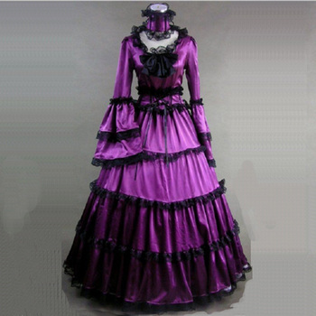 18th Century Court Gothic Victorian Period Dress Halloween Red and Purple Long Sleeve Masquerade Ball Gowns historical Costume