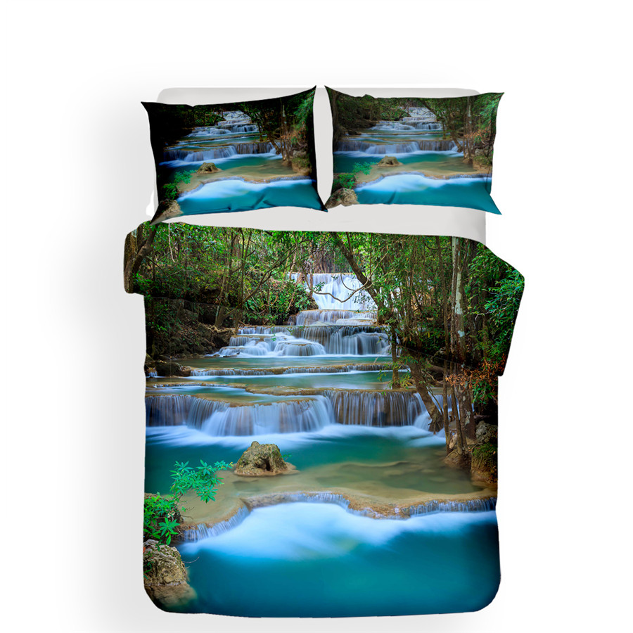 Image 2 - Bedding Set 3D Printed Duvet Cover Bed Set Forest waterfall Home Textiles for Adults Bedclothes with Pillowcase #SL03-in Bedding Sets from Home & Garden