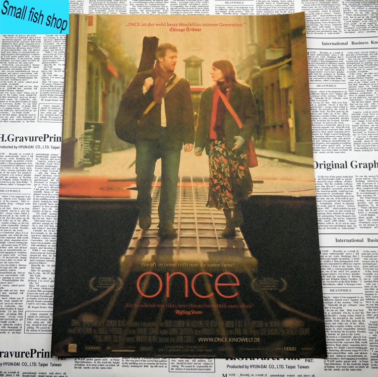 Once love Music movie Home Furnishing decoration Kraft Movie Poster Drawing core Wall stickers image