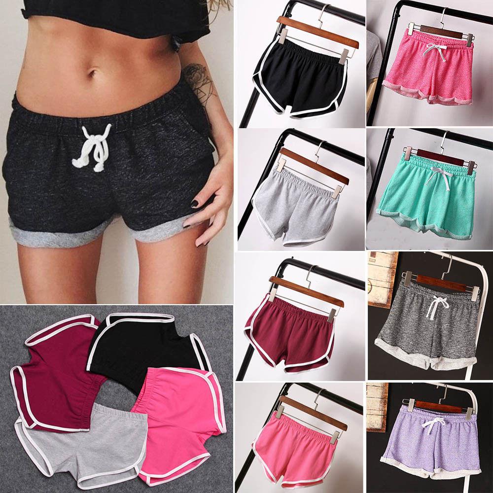 Women Sport Drawstring Running Shorts Anti Emptied Cotton Contrast Elastic Waist Correndo Shorts GYM Yoga Workout Shorts