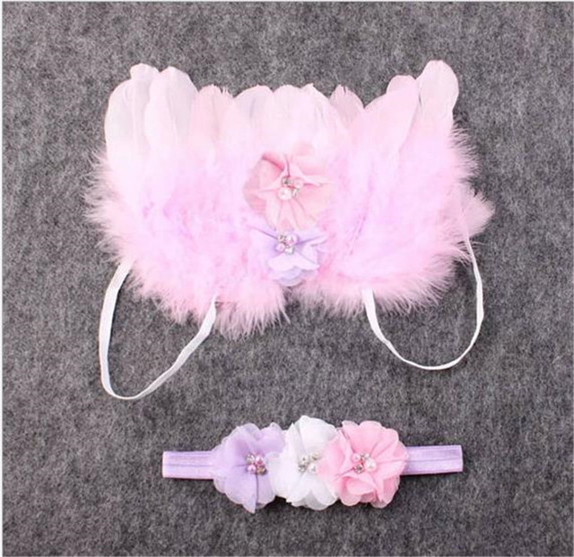Angel Wings Feather Wings Baby Girl Flower Pearl Headband Photo Shoot Hair Accessories For Newborn Photography Props 0-6 Months 1