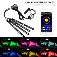 Приложение Управление салона RGB Декоративные Атмосфера Светодиодные ленты огни для Mercedes w203 w204 w211 w210 Toyota corolla avensis auri