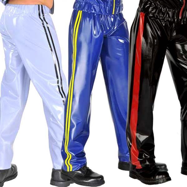 0.4mm Thickness Latex Mens Pants Latex Track Suit Bottoms Latex Rubber Trousers
