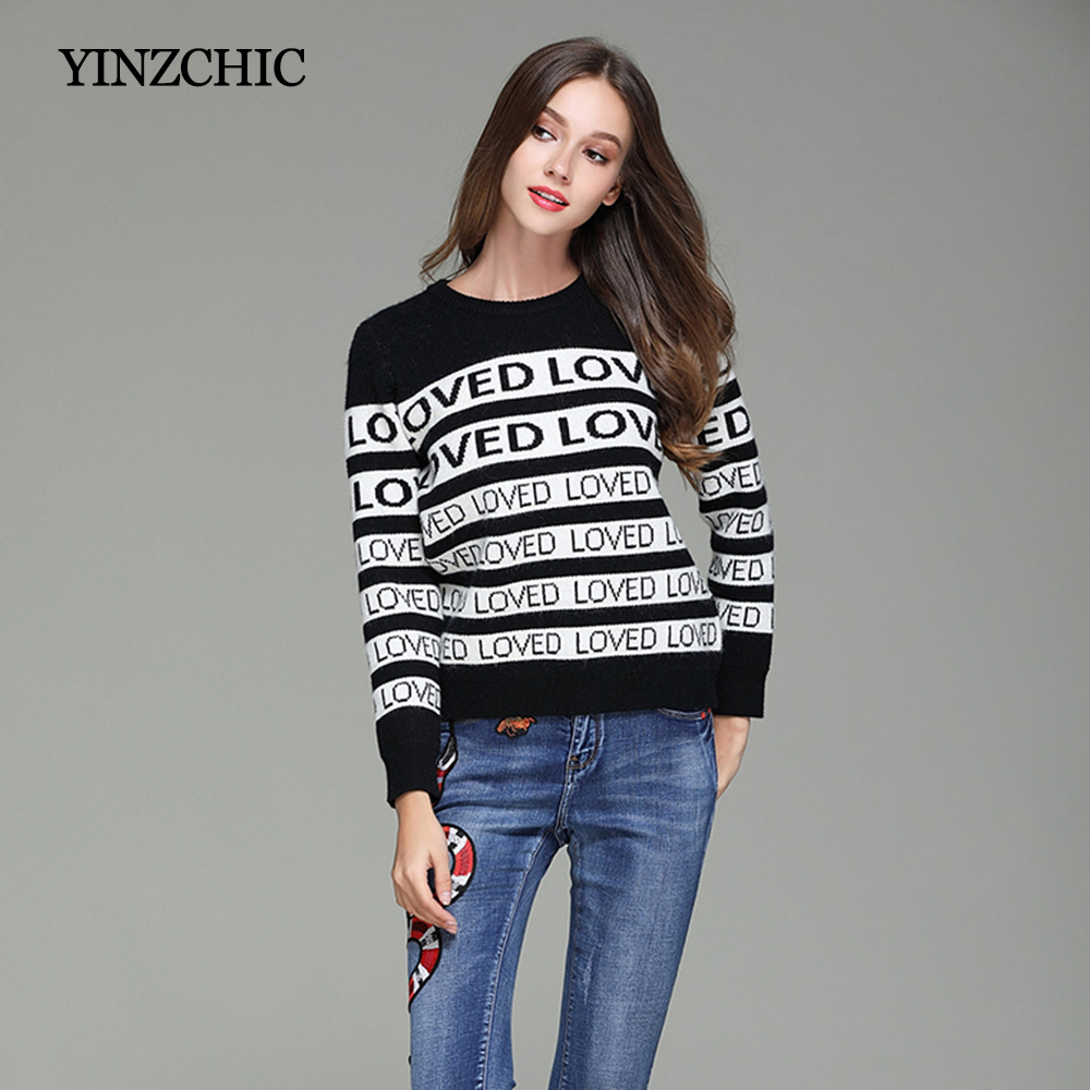 Woman Autumn New Sweaters Letter Jacquard Winter Sweaters Women Casual Female Loose Knitted Pullover Full Sleeve Womans Sweaters