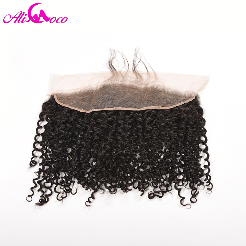 Ali Coco Kinky curl Lace Frontal With Baby Hair 13x4 Ear To Ear Lace Frontal Closure 100 % Human Hair Non-remy Hair Extension
