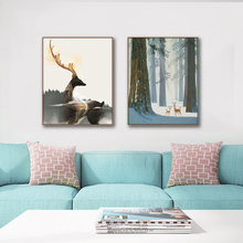 Laeacco Elk Simplicity Nordic Decoration Canvas Prints Pictures Poster Oil Paintings For Bedroom Living Room Home Wall Decor Art