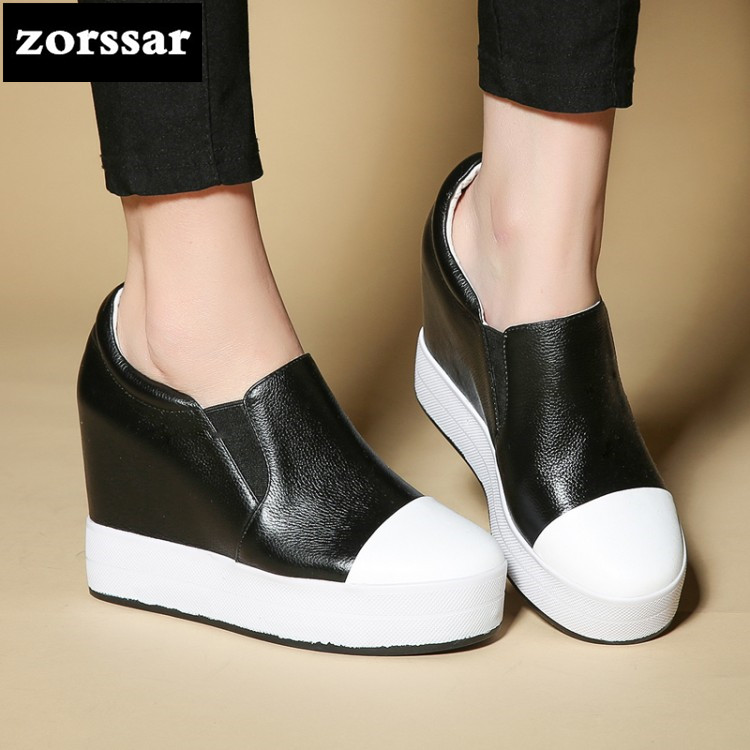 {Zorssar} 2018 New Genuine Leather fashion womens shoes Leisure Slip-on increased internal High heels platform pumps shoes zorssar 2018 spring new casual women shoes genuine leather heels pumps slip on wedges platform high heels womens creepers shoes