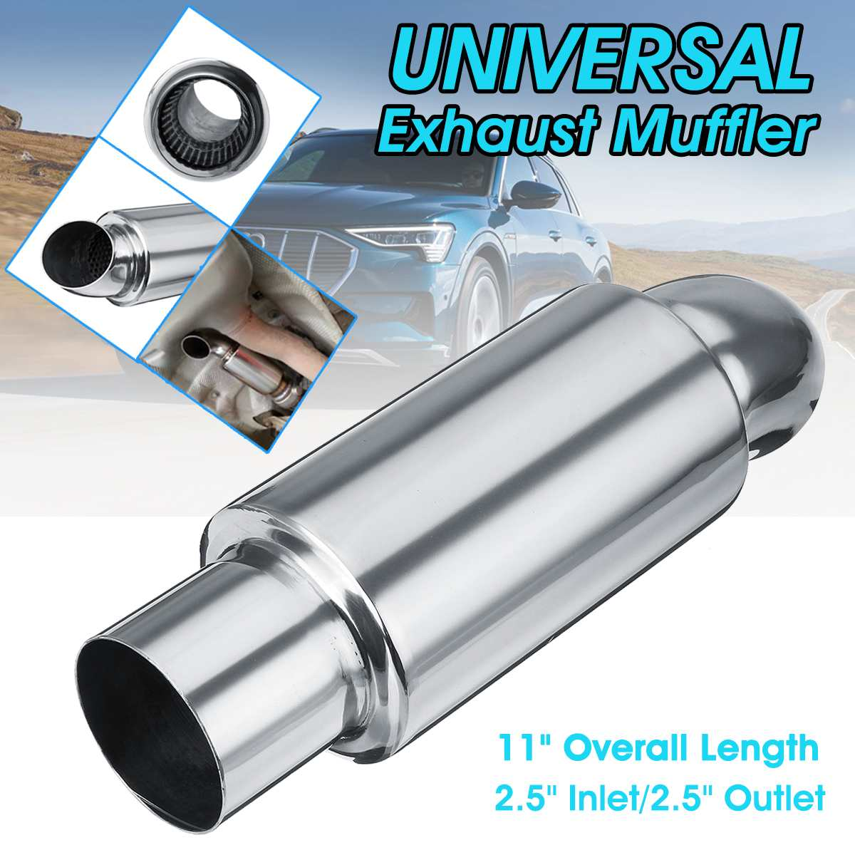 Universal 58mm Car Flat Exhaust Pipe Tip Muffler Stainless Steel Tail Tube