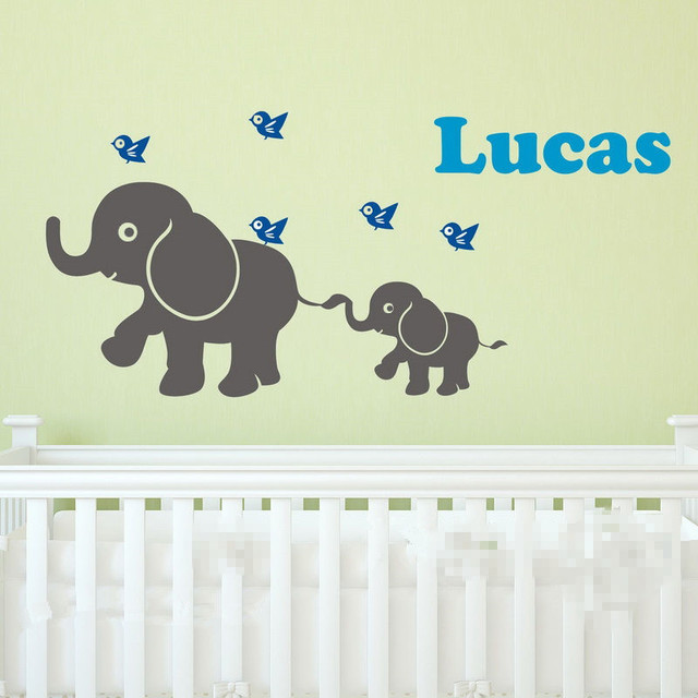 Baby elephant birds personalised name wall decals removalbe kids nursery wall sticker mural wallpaper adesivo de