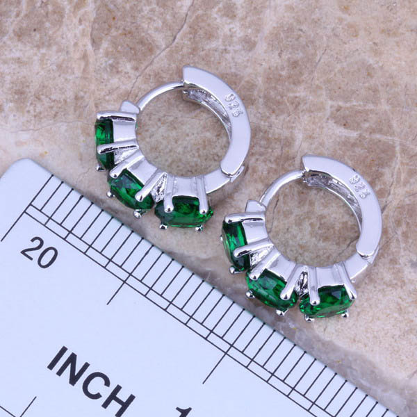 Subtilūs žalios spalvos kubiniai cirkonio 925 sidabriniai - Mados papuošalai - Nuotrauka 2