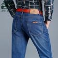 AFS JEEP Light Blue Thick Autumn Men's Mid Waist Denim Jeans,Wholesale New Arrival Father's Leisure Denim Trousers,Brand Jeans