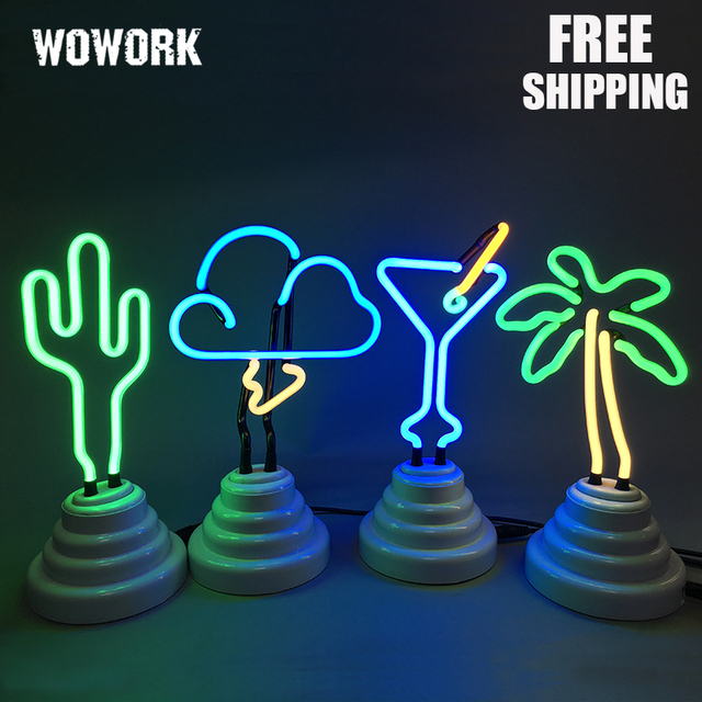 Flamingo Cactus Rainbow Pineapple Neon Light USB Battery Christmas Birthday  Gift Light For Kids Bedroom Decorative