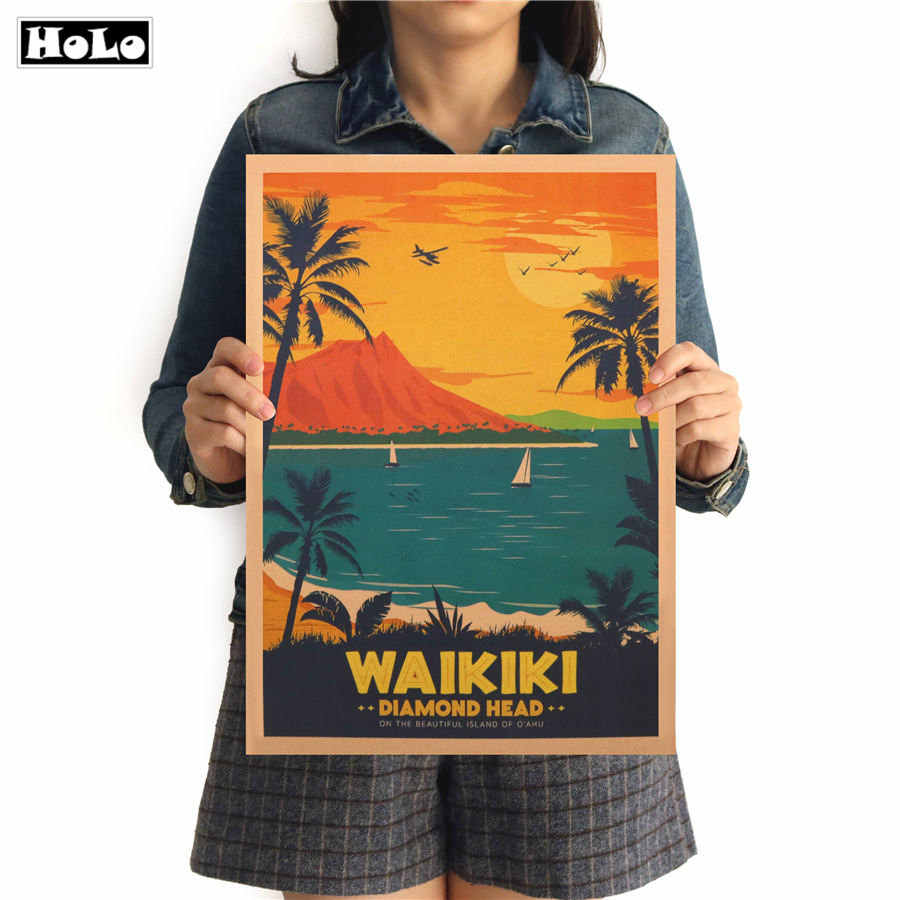 WAIKIKI City Travel Vintage Poster decorative painting kraft paper paper posters sticker pub cafe bar print picture 42x30cm