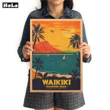 WAIKIKI City Travel Vintage Poster decorative painting kraft paper paper posters sticker pub cafe bar print picture 42x30cm(China)